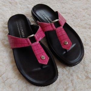 Donald J Pliner Pink Croc Fanta Thongs